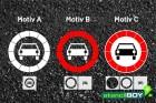 """Verkehrszeichen Schablone """"Verbot für Kraftwagen"""""""
