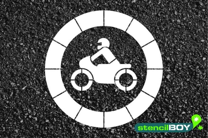 """Verkehrszeichen Schablone """"Verbot für Krafträder"""""""