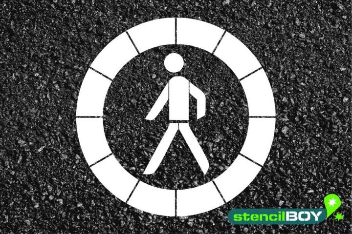 """Verkehrszeichen Schablone """"Verbot für Fußgänger"""""""