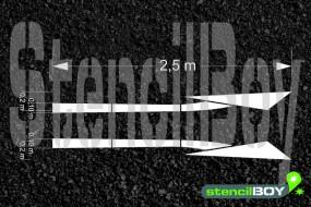 2500mm Richtungspfeil nach links/rechts wechseln nach RMS - Bodenmarkierungsschablone