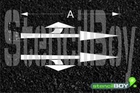 Richtungspfeil geradeaus und links ab/rechts ab nach RMS - Bodenmarkierungsschablone