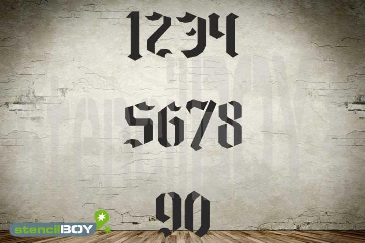 Zahlenschablonen 0-9 Stencilfont GO mit Sprühnebelschutz