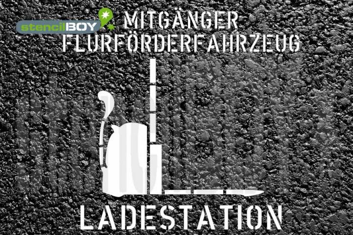 """""""Mitgänger Flurförderfahrzeug - Ladestation"""" Bodenmarkierungs-Schablone"""