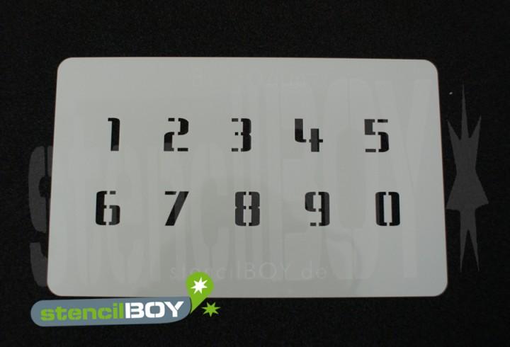 Zahlenschablone Schriftart BL