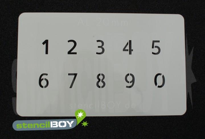 Zahlenschablone Schriftart AL