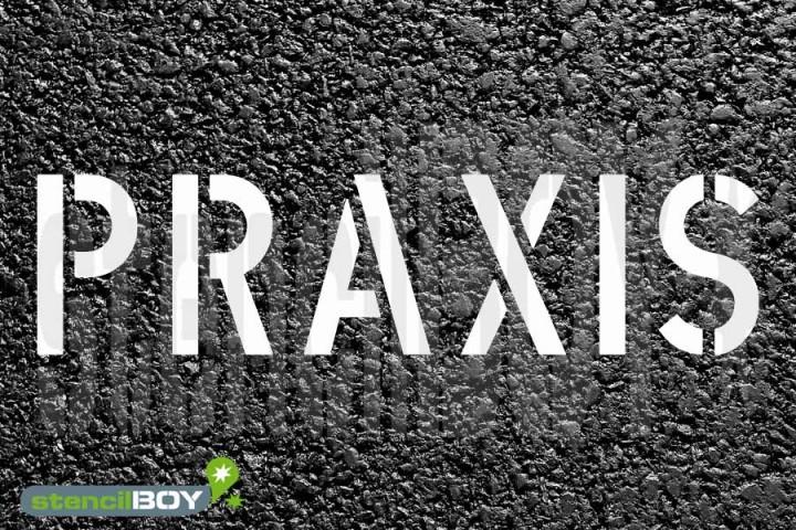 """""""PRAXIS"""" Parkplatz Schablone"""