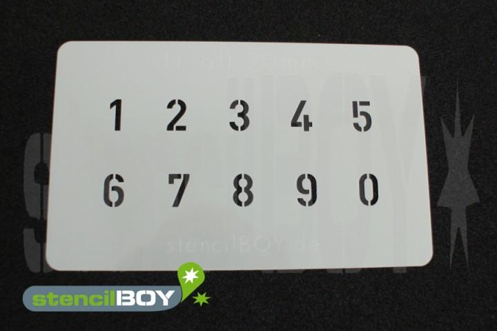 Zahlenschablone Schriftart H-alt