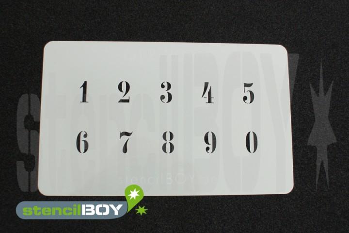 Zahlenschablone Schriftart GER