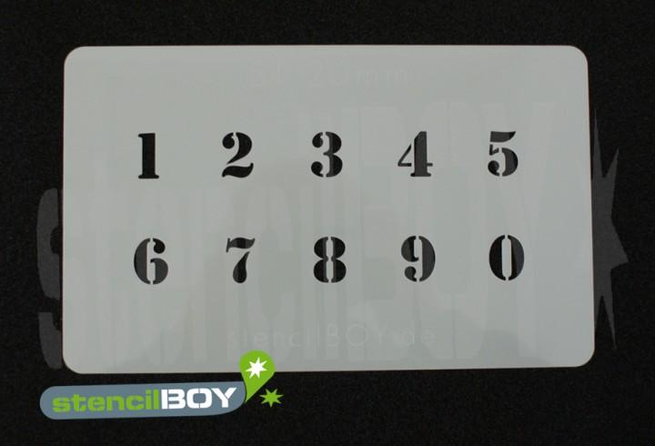 Zahlenschablone Schriftart ST