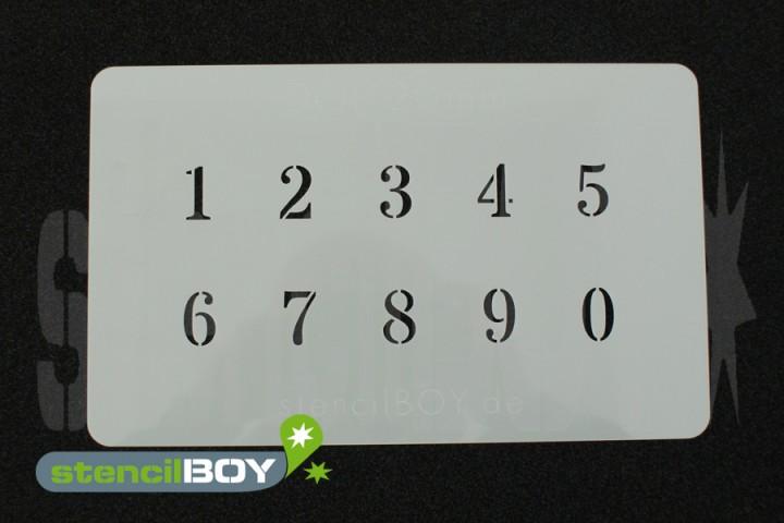 Zahlenschablone Schriftart DOL