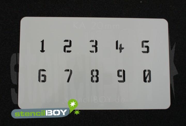 Zahlenschablone Schriftart KA