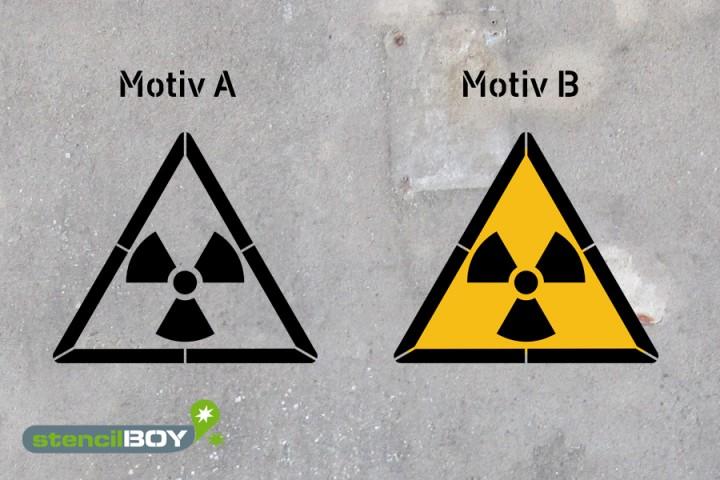 Warnung vor radioaktiven Stoffen oder ionisierenden Strahlen - Schablonen