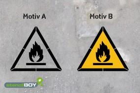 Warnung vor feuergefährlichen Stoffen - Schablonen
