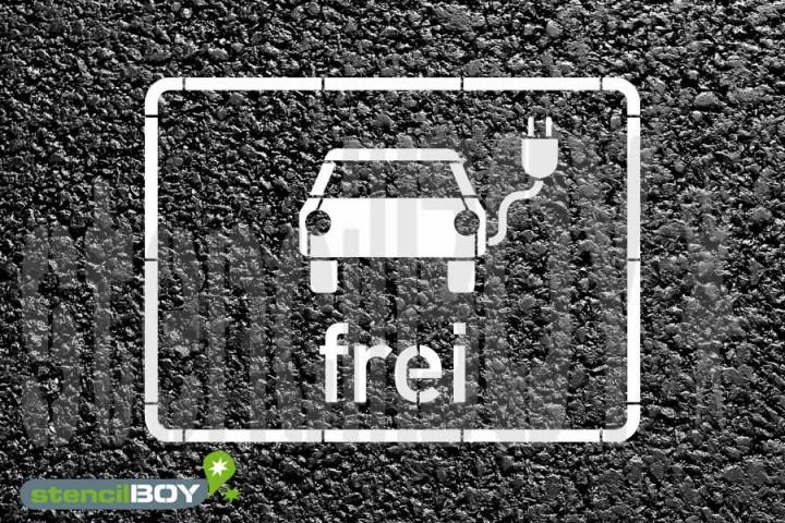 """""""Elektrisch betriebene Fahrzeuge frei"""" Bodenmarkierungs-Schablone mit Rahmen"""