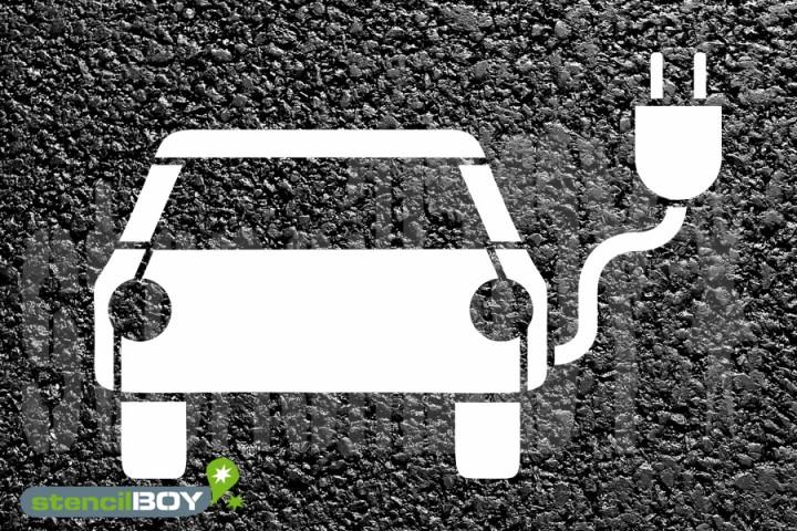 """""""Elektrisch betriebene Fahrzeuge """" Bodenmarkierungs-Schablone"""