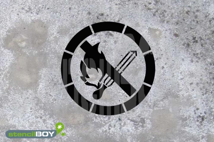 """Schablone """"Keine offene Flamme, Feuer, offene Zündquelle und Rauchen verboten"""""""
