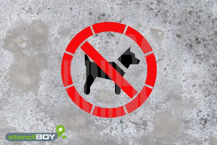 """Schablone """"Mitführen von Hunden (Tieren) verboten"""""""
