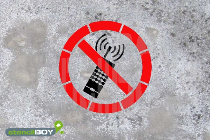 """Schablone """"eingeschaltete Mobiltelefone verboten"""""""