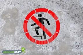 """Schablone """"Auf die Fläche steigen verboten"""""""