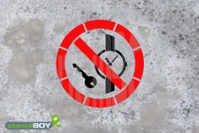 """Schablone """"Mitführen von Metallteilen und Uhren verboten"""""""