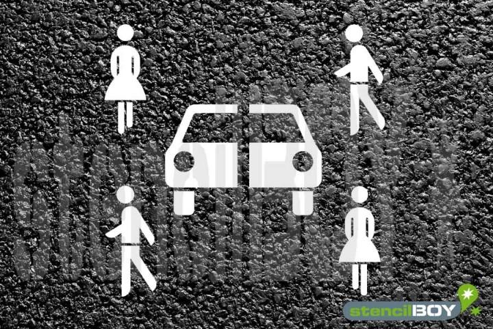 """""""Parkplatz Carsharing """" Bodenmarkierungs-Schablone"""
