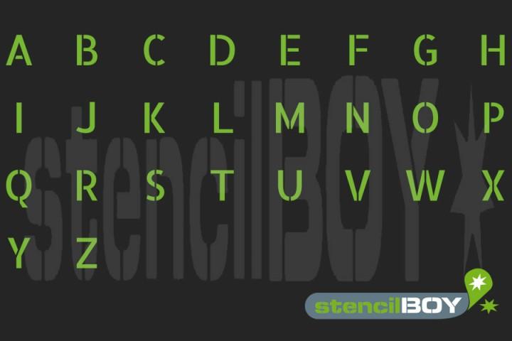 Buchstabenschablonen mit Umlauten nach Stencil-Font AL (mit Hilfslinien)