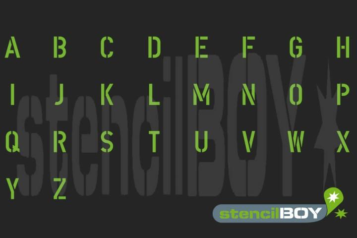 Buchstabenschablonen mit Umlauten nach DIN 1451 (mit Hilfslinien)
