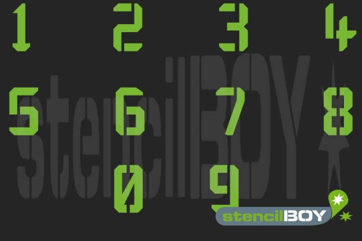 Zahlenschablonen Stencil-Font KA (mit Hilfslinien)