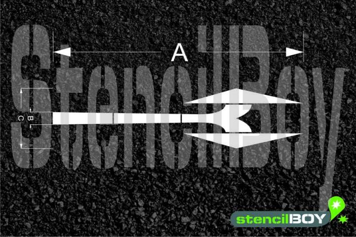 Richtungspfeil links und rechts ab nach RMS - Bodenmarkierungsschablone