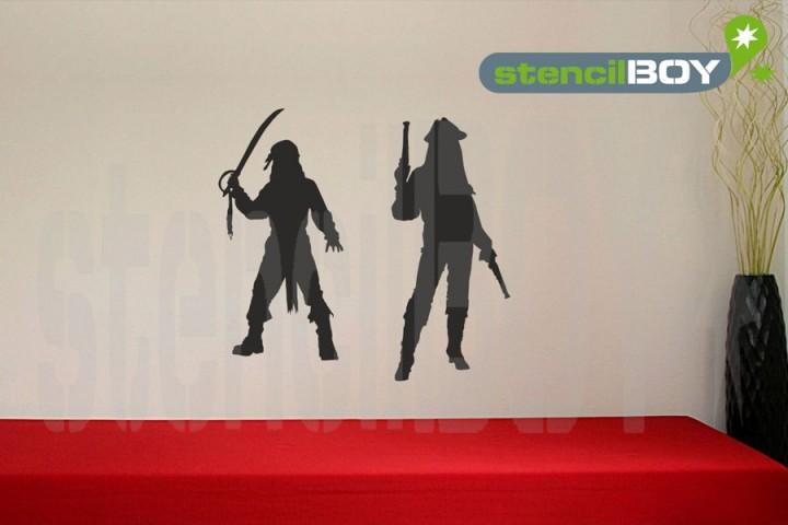 2 Piraten der Karibik mit Pistolen und Säbel