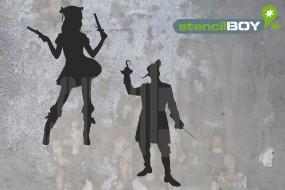 Pistolenweib und Pirat mit Hakenhand