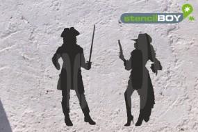 Schöne Frau mit Hut und Waffe, Mann mit Degen und Piratenhut