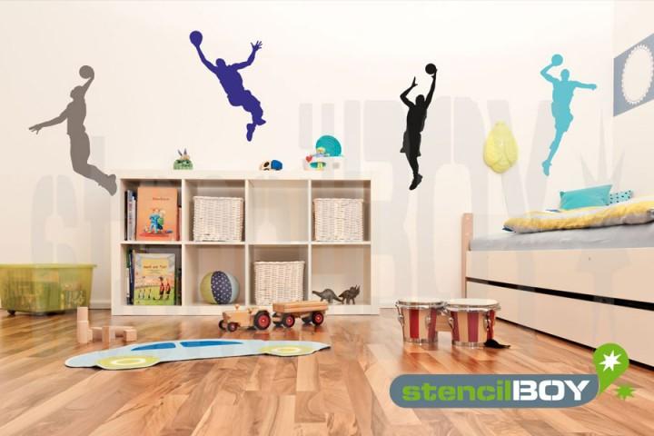 basketball spieler mit ball beim sprung schablone. Black Bedroom Furniture Sets. Home Design Ideas