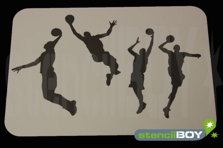 Basketball Spieler mit Ball beim Sprung Schablone
