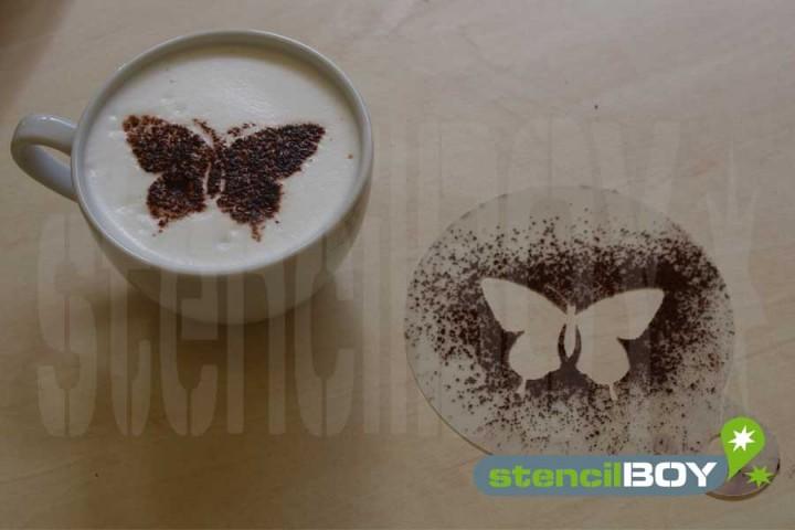 "Cappuccino coffee stencil ""butterfly"""