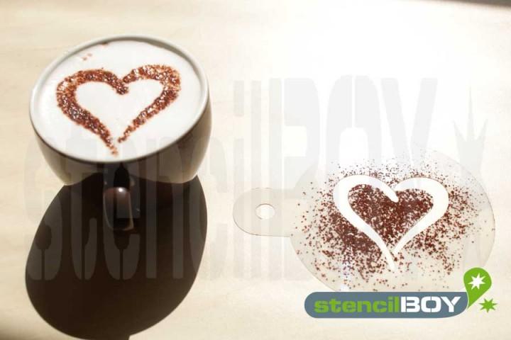 """Cappuccino coffee stencil """"Heart-Love"""""""
