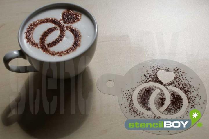 "Cappuccino Schablone ""Eheringe - Ringe - Liebe"" Version2"