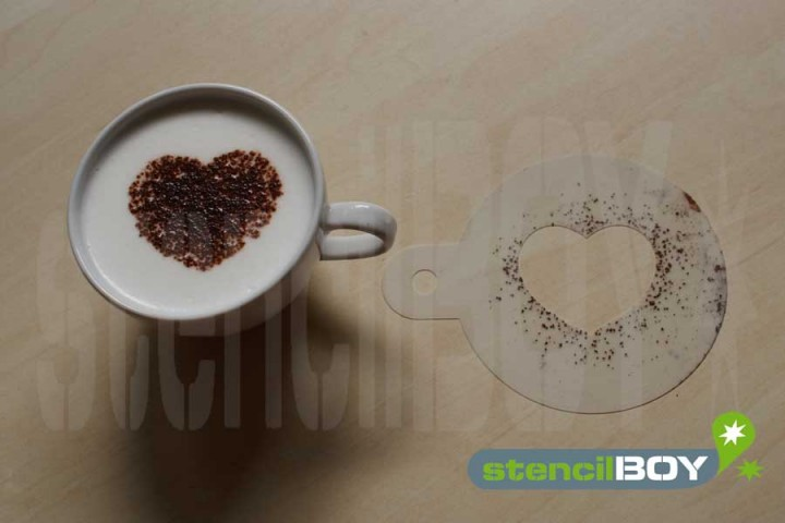 """Cappuccino Schablone """"Herz - Liebe"""" - 1"""
