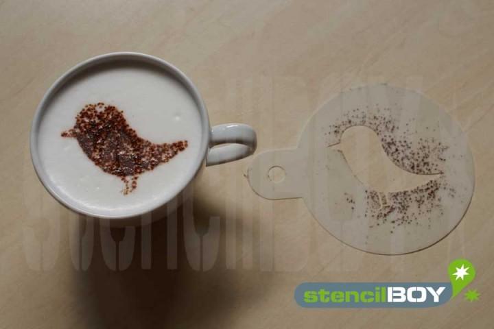 """Cappuccino Schablone """"Vögelchen - Spatz"""""""