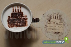 "Cappuccino Schablone ""Torte - Geburtstagstorte"""