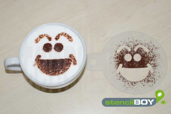 "Cappuccino coffee stencil ""Smiley - Hans"""