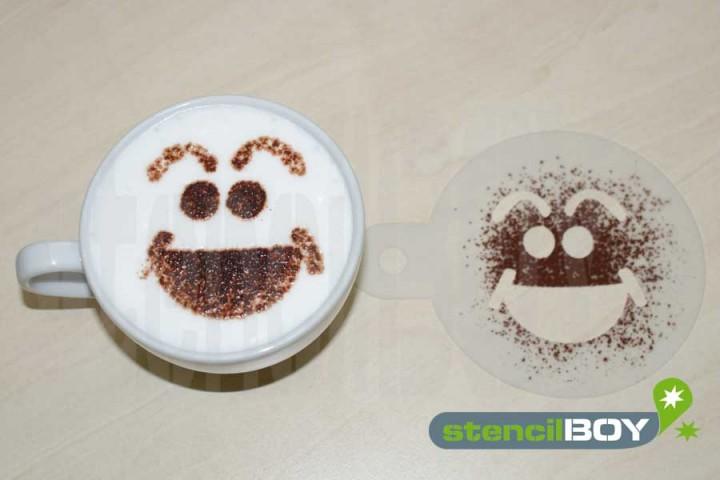 """Cappuccino coffee stencil """"Smiley - Hans"""""""