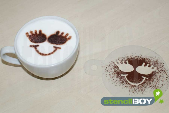 """Cappuccino coffee stencil """"Smiley - Ljudmila"""""""