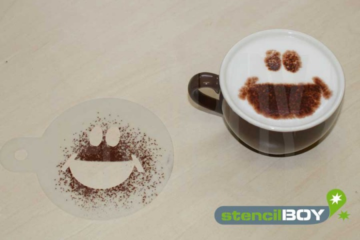 "Cappuccino coffee stencil ""Smiley - Klaus"""