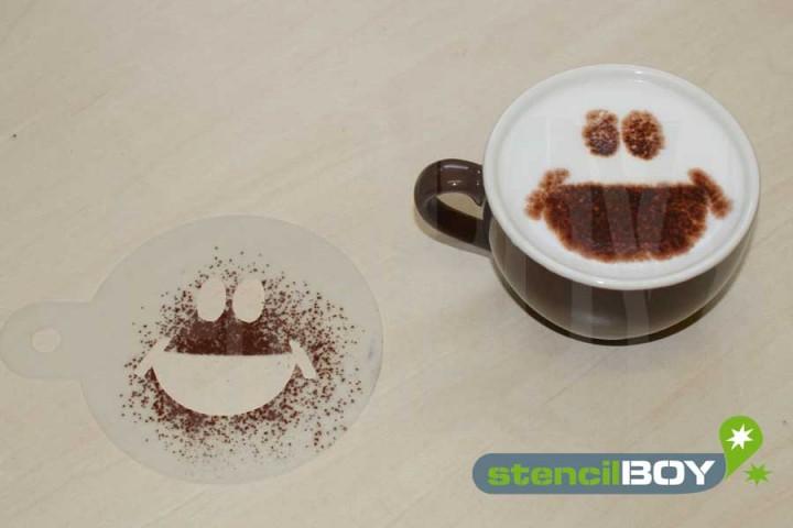 """Cappuccino coffee stencil """"Smiley - Klaus"""""""