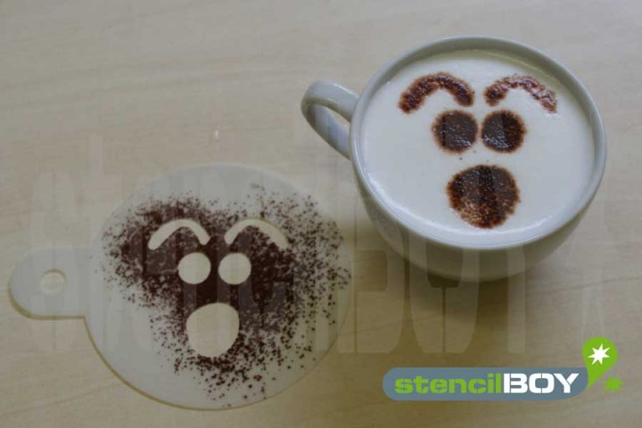 "Cappuccino coffee stencil ""Smiley - Beatrice"""