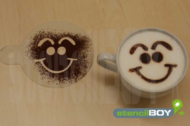 "Cappuccino coffee stencil ""Smiley - Micha"""