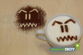 "Cappuccino coffee stencil ""Bad - Smiley - Kevin"""