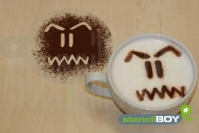 "Cappuccino Schablone ""Bad - Smiley - Kevin"""