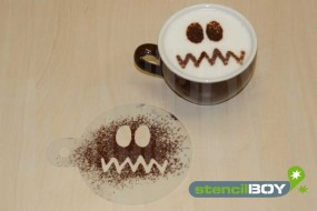 "Cappuccino coffee stencil ""Bad-Smiley - Joe"""